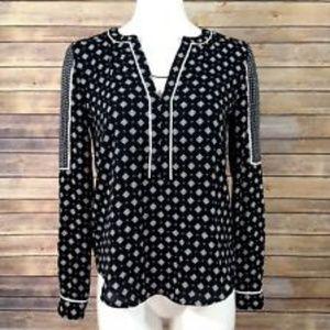 Ann Taylor LOFT geo pattern blouse